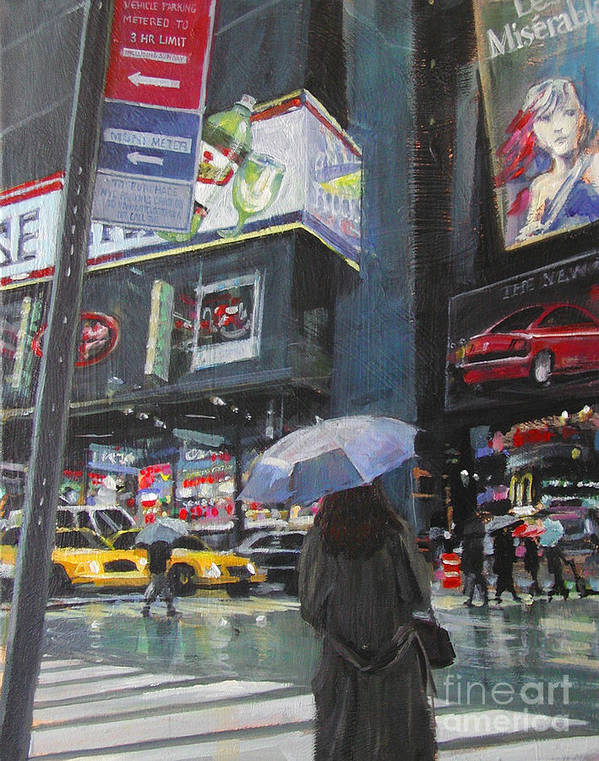 Urban Poster featuring the painting Rainy Day In Times Square by Patti Mollica