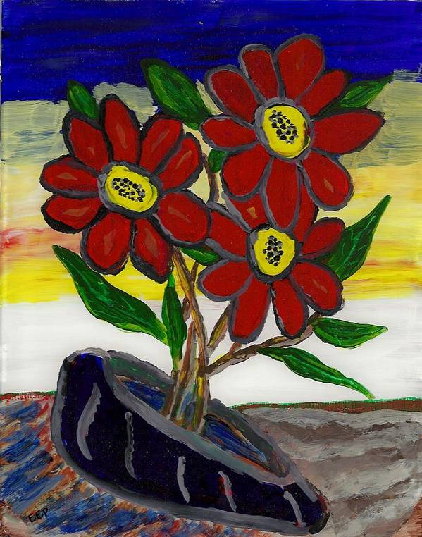 Acrylic On Glass Poster featuring the painting Slipper Flower by Enrico Pischiera