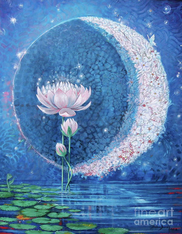 Crescent Moon Poster featuring the painting Springtime Moon by Silvia Duran