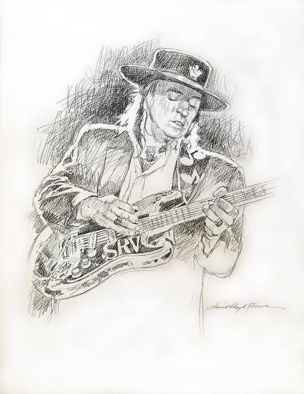 Stevie Ray Vaughan Poster featuring the drawing Stevie Ray Vaughan - Texas Twister by David Lloyd Glover