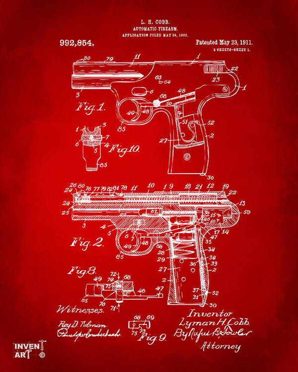 Police Gun Poster featuring the drawing 1911 Automatic Firearm Patent Artwork - Red by Nikki Marie Smith