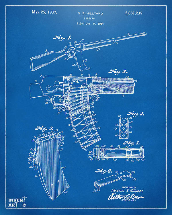 Police Gun Poster featuring the drawing 1937 Police Remington Model 8 Magazine Patent Artwork - Blueprin by Nikki Marie Smith