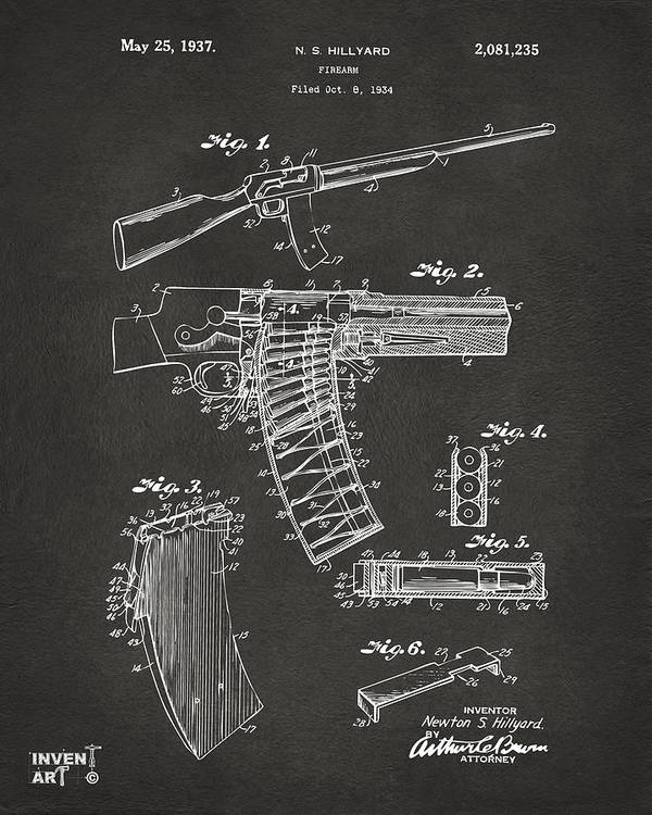 Police Gun Poster featuring the drawing 1937 Police Remington Model 8 Magazine Patent Artwork - Gray by Nikki Marie Smith