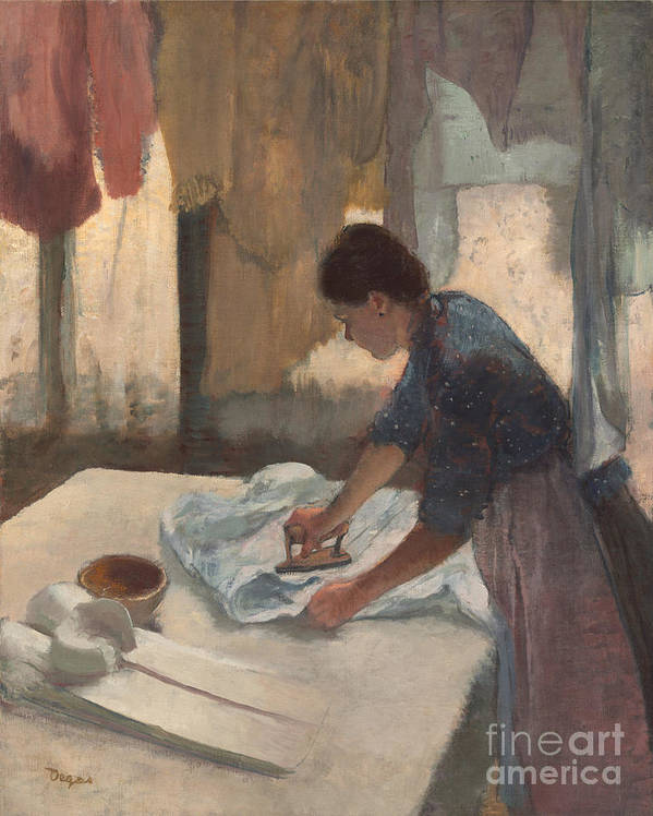 Impressionist; Female; Work; Servant; Maid; Domestic; Three; Quarter; Length; Side; View; Table; Iron; Washing; Line Poster featuring the painting Woman Ironing by Edgar Degas