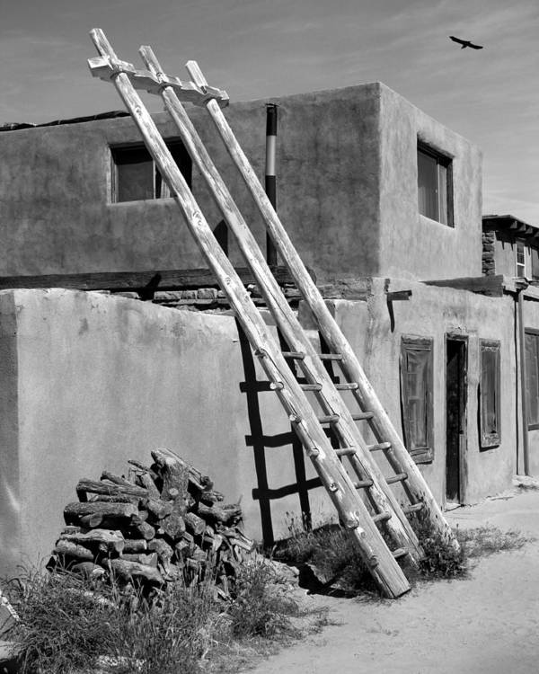 Acoma Pueblo Poster featuring the photograph Acoma Pueblo Adobe Homes by Mike McGlothlen