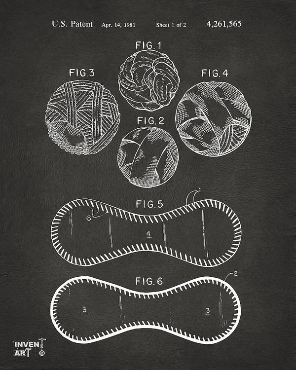 Baseball Poster featuring the drawing Baseball Construction Patent - Gray by Nikki Marie Smith