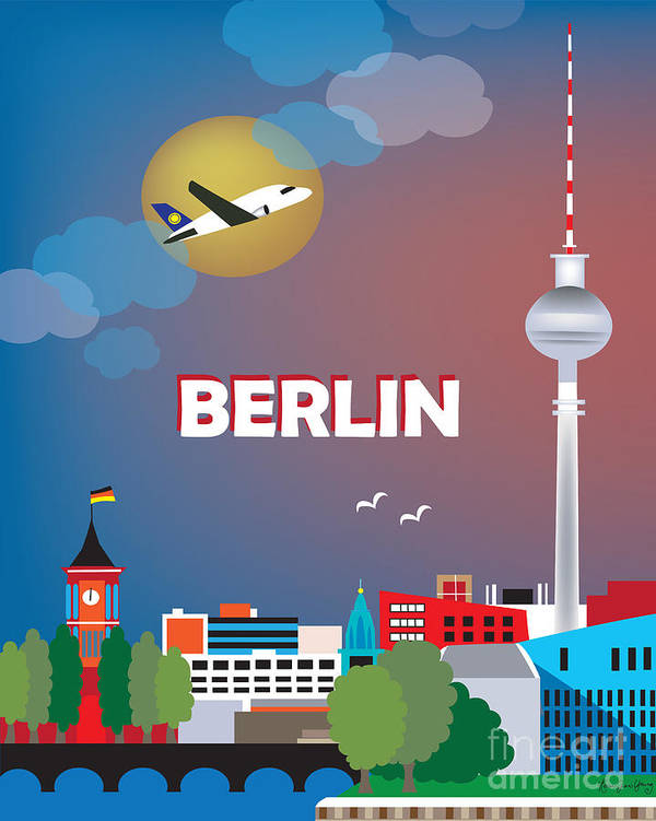 Cityscape Poster featuring the digital art Berlin by Karen Young