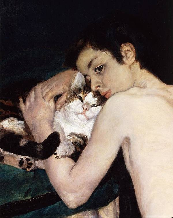 Art Poster featuring the painting Boy With A Cat by Pierre-Auguste Renoir
