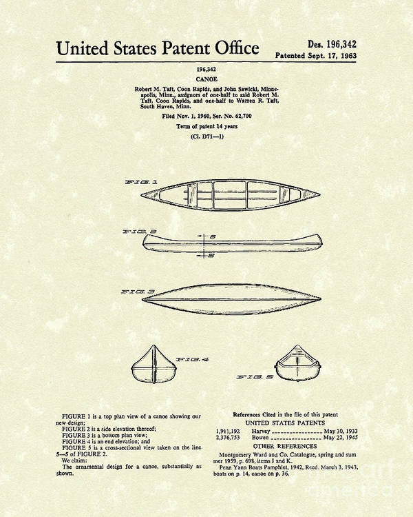 Taft Poster featuring the drawing Canoe 1963 Patent Art by Prior Art Design