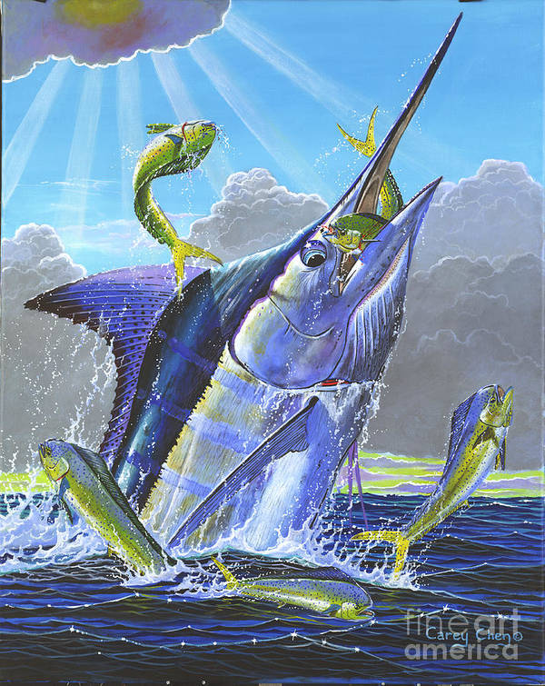 Marlin Poster featuring the painting Catch Em Up Off0029 by Carey Chen