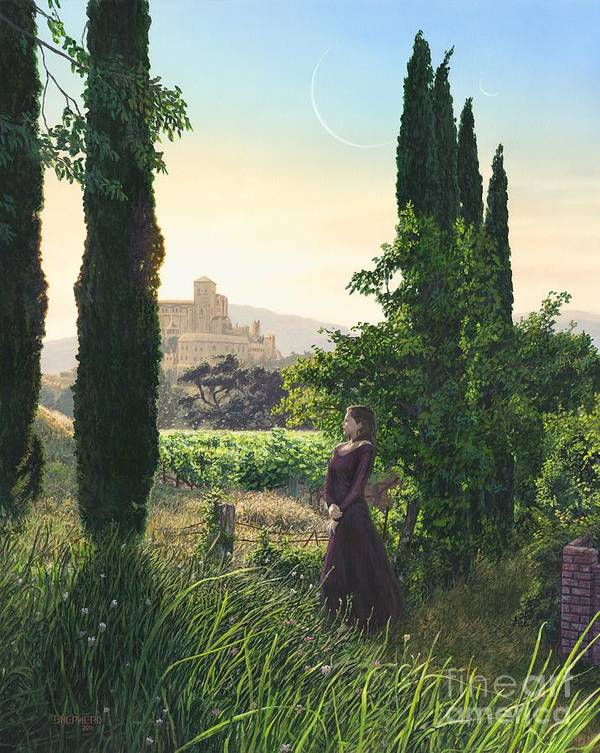 Wine Country Poster featuring the painting Chardonnay Wine Country Fantasy by Stu Shepherd