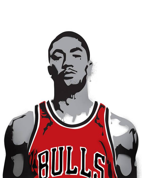 Derrick Rose Poster featuring the digital art Derrick Rose by Mike Maher