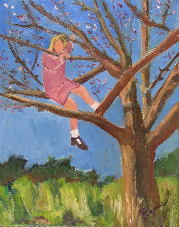 Girl In Apple Tree Poster featuring the painting Easter In The Apple Tree by Betty Pieper