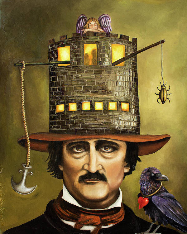 Poe Poster featuring the painting Edgar Allan Poe by Leah Saulnier The Painting Maniac