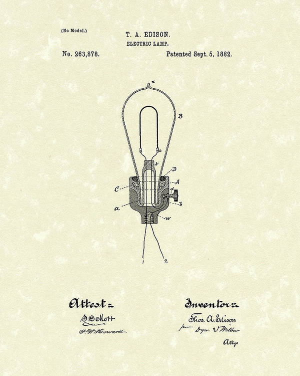 Edison Poster featuring the drawing Edison Electric Lamp 1882 Patent Art by Prior Art Design