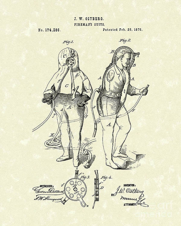 Ostberg Poster featuring the drawing Fireman's Suits 1876 Patent Art by Prior Art Design