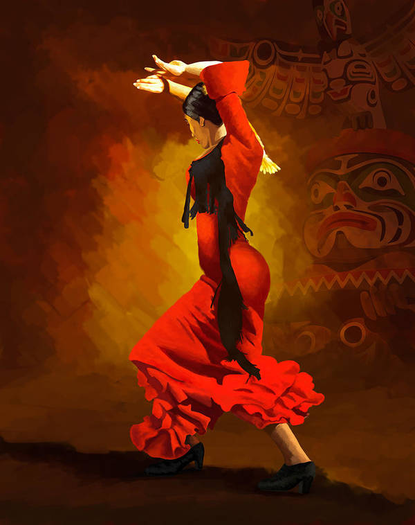 Jazz Poster featuring the painting Flamenco Dancer 0013 by Catf