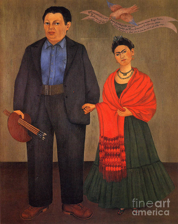 Pd Poster featuring the painting Frida Kahlo And Diego Rivera 1931 by Pg Reproductions