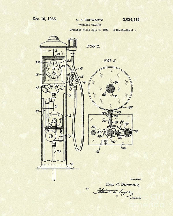 Schwartz Poster featuring the drawing Gears 1935 Patent Art by Prior Art Design