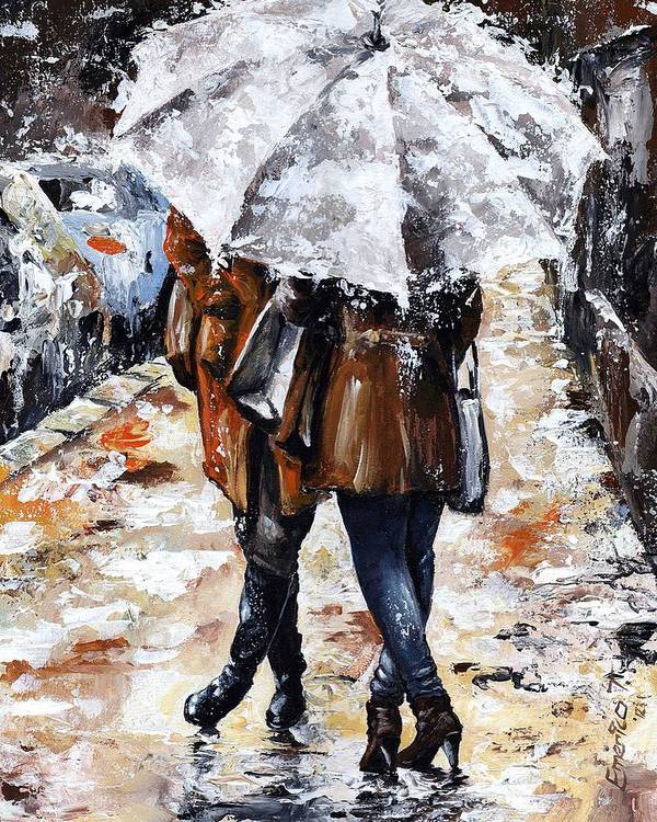 Rain Poster featuring the painting Girlfriends by Emerico Imre Toth