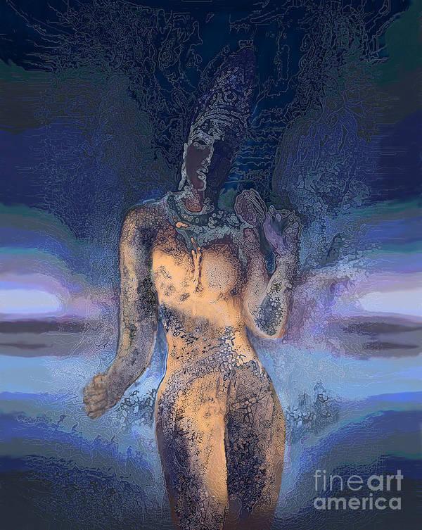 Ursula Freer Poster featuring the digital art Goddess by Ursula Freer