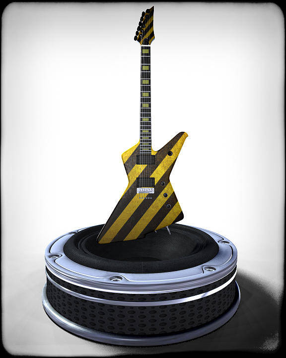Music Poster featuring the digital art Guitar Desplay V3 by Frederico Borges