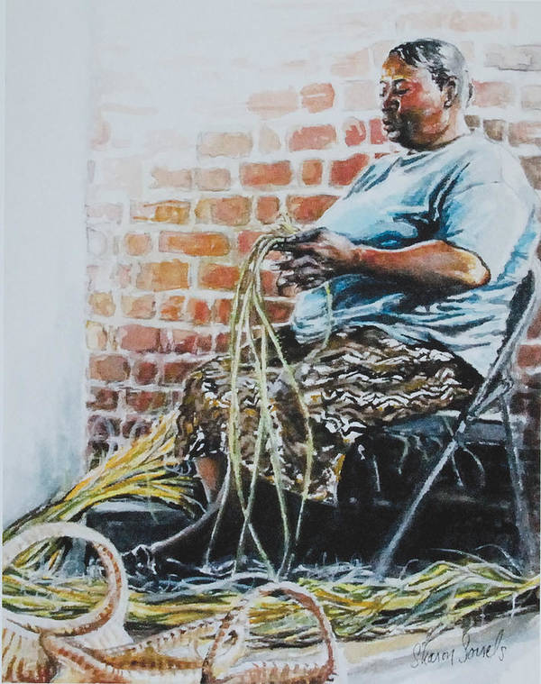 Basket Weaver Poster featuring the painting Heritage by Sharon Sorrels