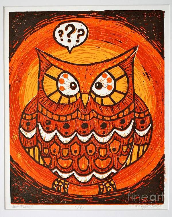 Printmaking Poster featuring the mixed media Hoo's There by Kimberly Wix