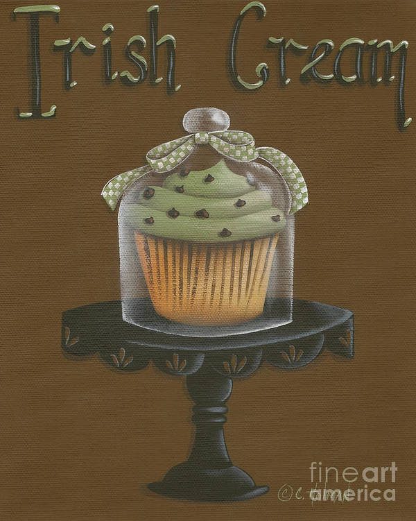 Art Poster featuring the painting Irish Cream Cupcake by Catherine Holman