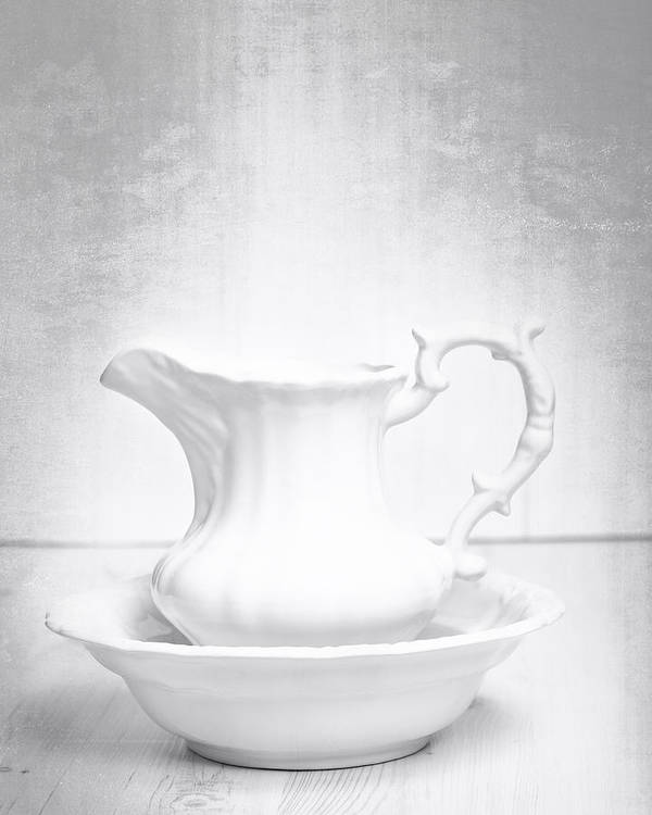 White Poster featuring the photograph Jug And Bowl by Amanda Elwell