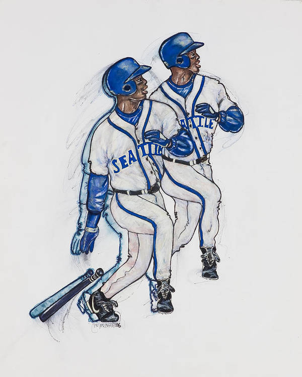 Baseball Poster featuring the painting Ken Griffey Jr. by Suzanne Macdonald