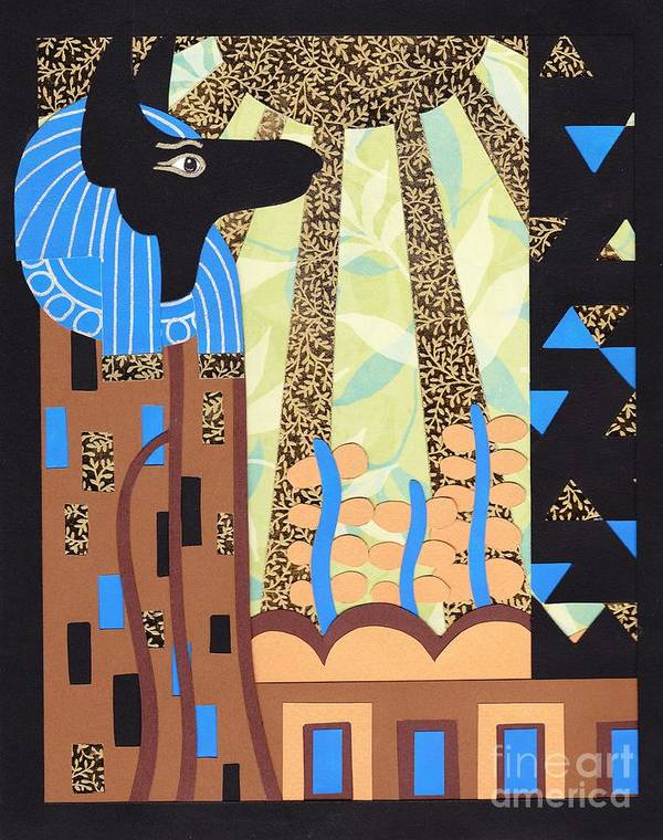 Paper Poster featuring the relief Klimt's Paper Anubis by Sarah Durbin