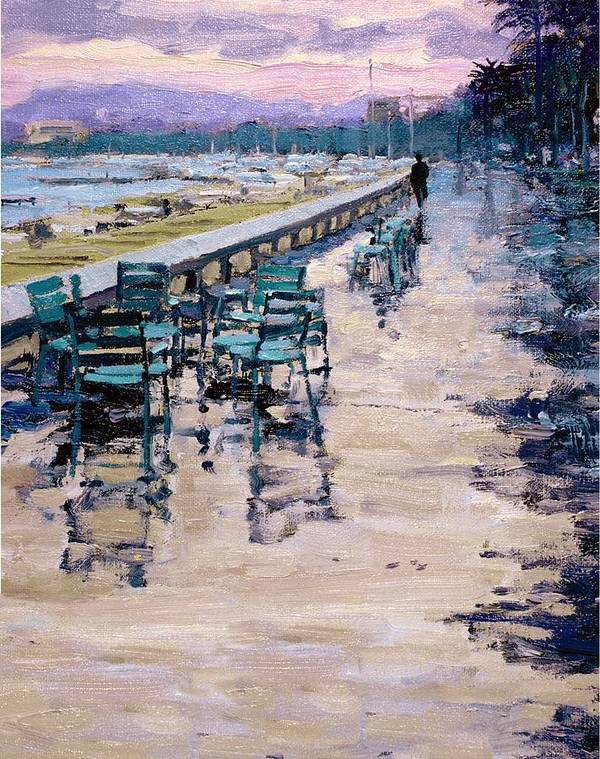 Sea Shore Poster featuring the painting La Croisette by Michael Swanson
