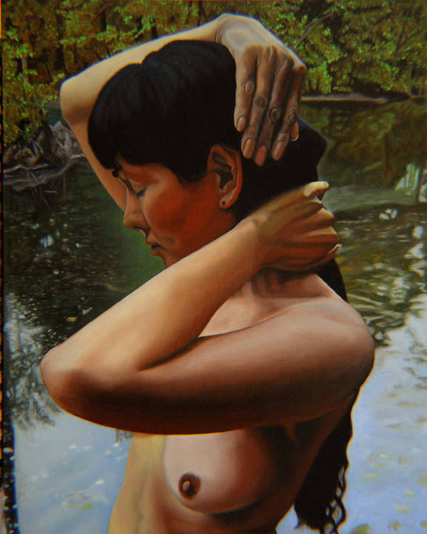 Bather Poster featuring the painting May Morning Arkansas River 3 by Thu Nguyen