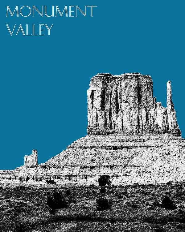 Pen And Ink Poster featuring the digital art Monument Valley - Steel by DB Artist
