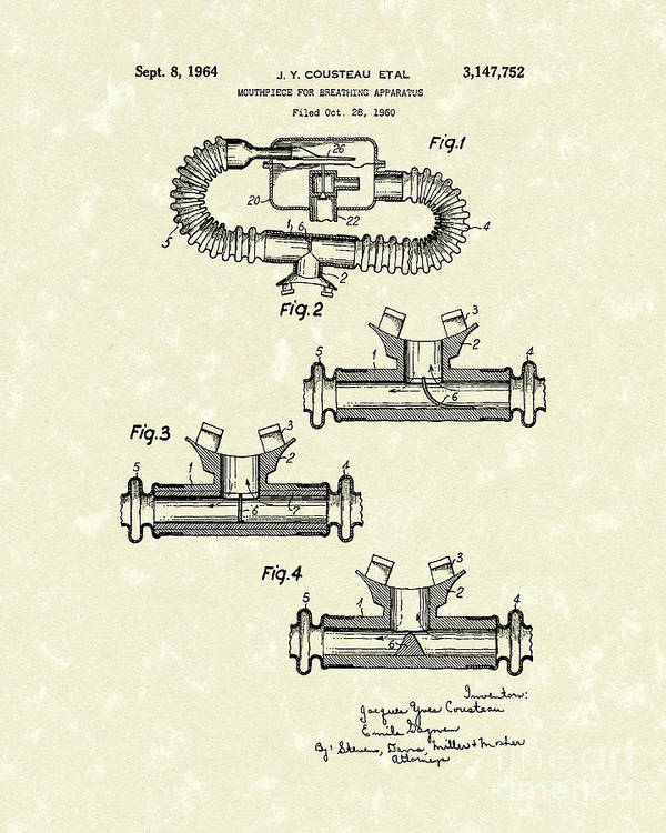 Cousteau Poster featuring the drawing Mouthpiece 1964 Patent Art by Prior Art Design