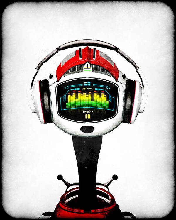 Music Poster featuring the digital art Music Roboto by Frederico Borges