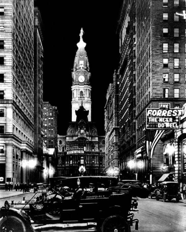 Philadelphia Poster featuring the photograph Philadelphia City Hall 1916 by Benjamin Yeager
