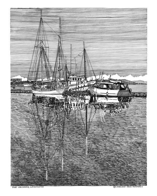 Yacht Portraits Poster featuring the drawing Port Orchard Reflections by Jack Pumphrey