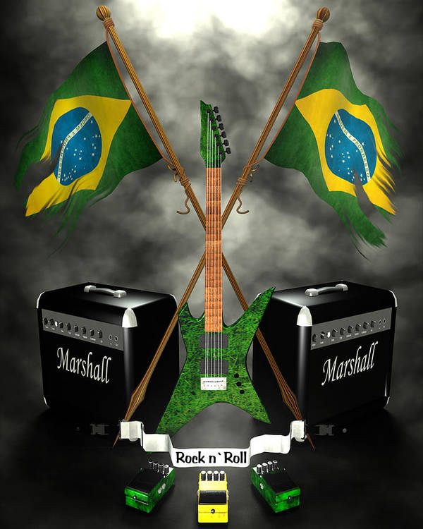 Rock N Roll Poster featuring the digital art Rock N Roll Crest - Brazil by Frederico Borges