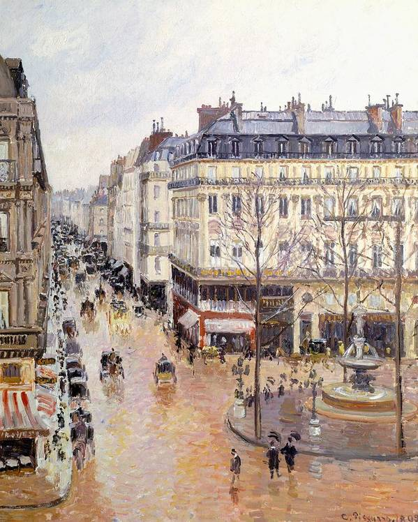 Art Poster featuring the painting Rue Saint Honore Afternoon Rain Effect by Camille Pissarro