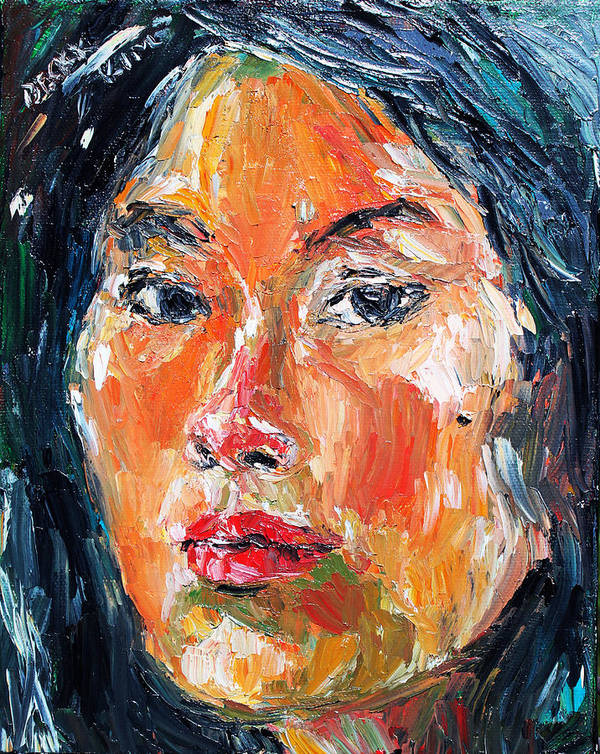 Self-portrait Poster featuring the painting Self Portrait 2013 -3 by Becky Kim