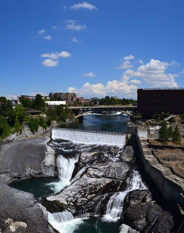 Spokane River Poster featuring the photograph Spokane Falls And Riverfront by Michelle Calkins