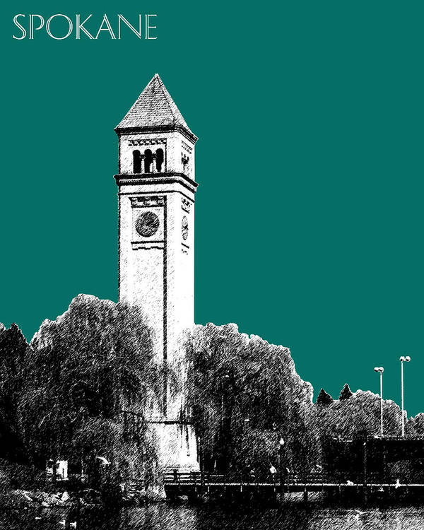 Architecture Poster featuring the digital art Spokane Skyline Clock Tower - Sea Green by DB Artist