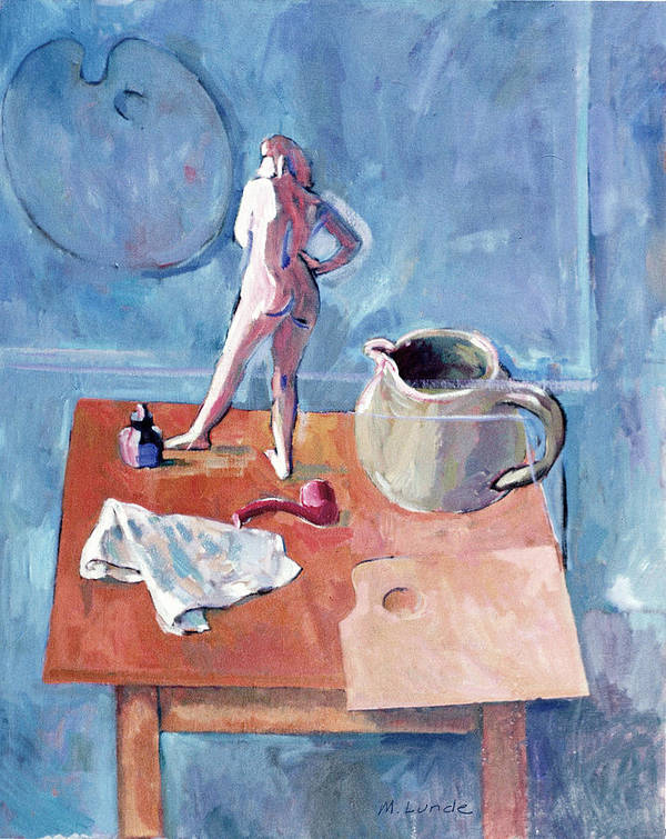 Oil Painting Poster featuring the painting Tabletop With Figurine by Mark Lunde