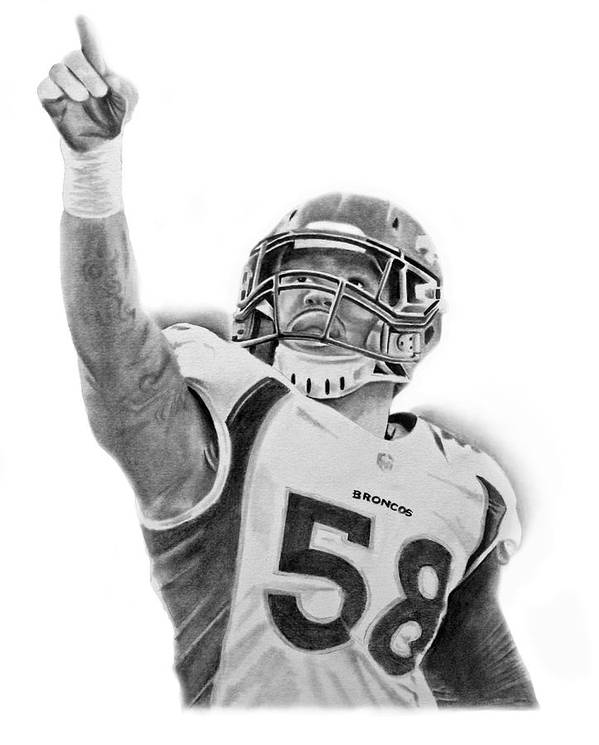 Nfl Poster featuring the drawing Von Miller by Don Medina