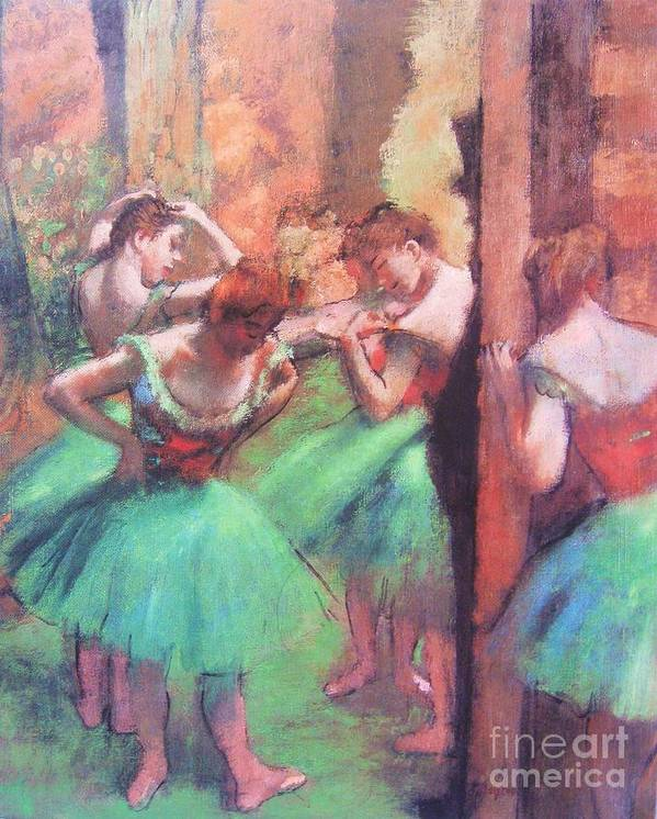 Pd Poster featuring the painting Dancers - Pink And Green by Pg Reproductions