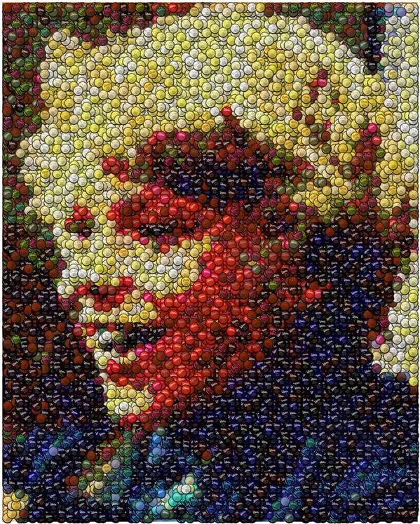 Willy Wonka Poster featuring the digital art Charlie Buckets Fizzy Lifting Drinks Bottle Cap Mosaic by Paul Van Scott