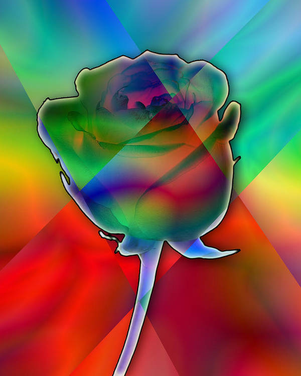 Imagination Poster featuring the digital art Chromatic Rose by Anthony Caruso