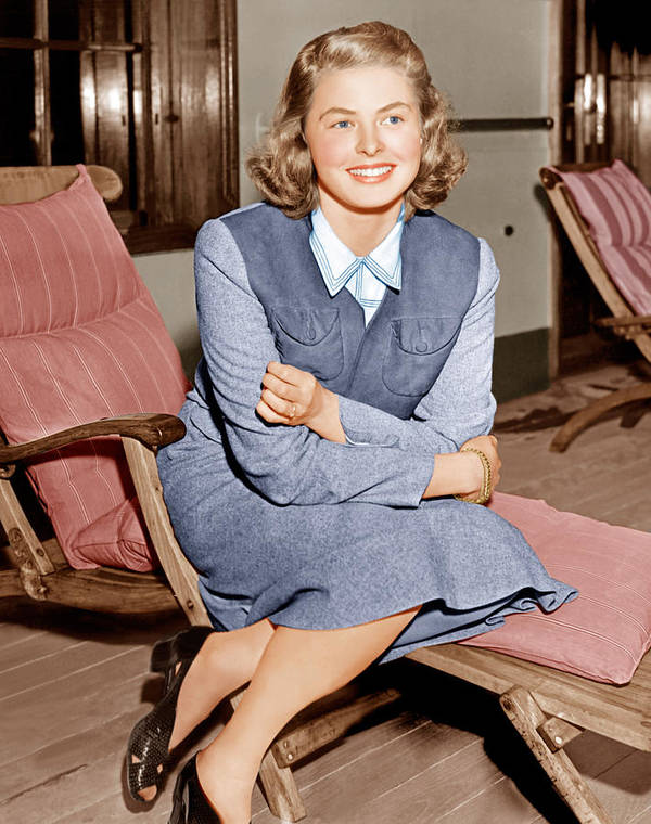 1940s Candid Poster featuring the photograph Ingrid Bergman Lounges On Ship Deck by Everett